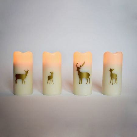 Small wax pillar led candle