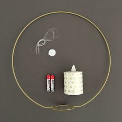 Metal holder for LED candle with moving flame - Japanese paper