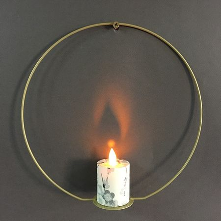 Metal LED candle holder - grey flowers Japanese paper and eucalyptus