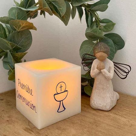 Square and wax led candle for customization - religious ceremonies