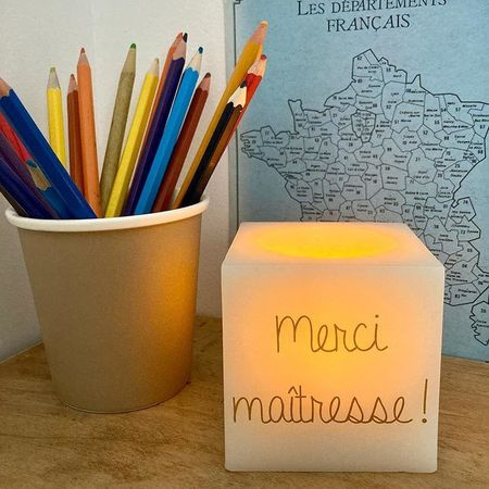 Bougie LED carrée personnalisable - Message