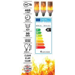 Large Flame Effect bulb - white socket