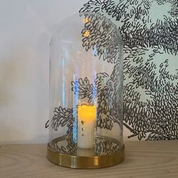 Small wax pillar led candle - golden heart