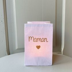 "led paper lantern - golden heart and "" Mummy """