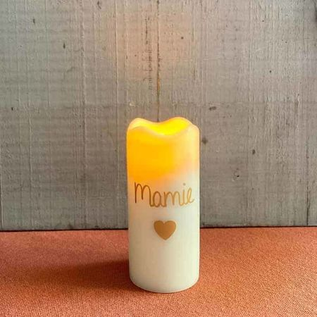 "Small wax pillar led candle - golden heart and "" Granny """