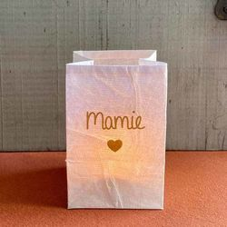 "led paper lantern - golden heart and "" Granny """