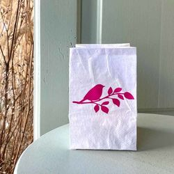led paper lantern - with a pink bird