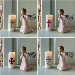 Small LED wax pillar candle - The Madonna and the child