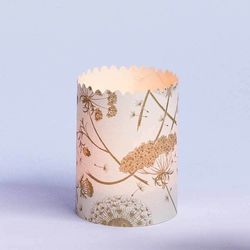 3 festoon candle holders in Japanese paper - Light Grey
