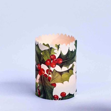 3 festoon candle holders in paper for Christmas - Holly / Gold