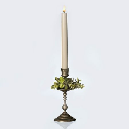 LED light grey wax taper candle - H 25CM