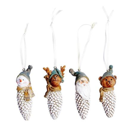 Pine cone with the face of snowman to hang