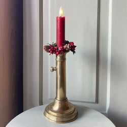 LED red wax taper candle - H 15CM