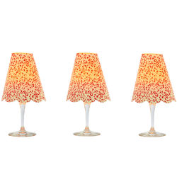 3 lampshades for wine glass - red cherry blossoms