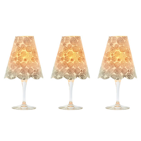 3 lampshades for wine glass - chrysanthemums