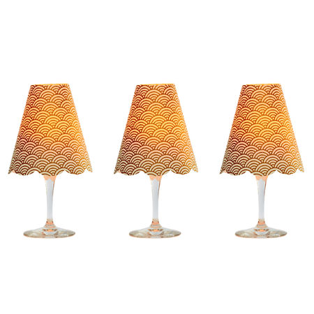 3 lampshades for wine glass - large gold wave