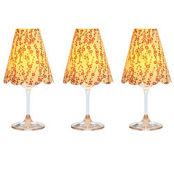 3 lampshades for wine glass - small flowers