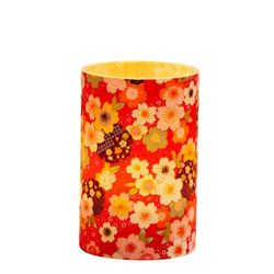 LED candle holder Red Japanese Flower - H 9 cm