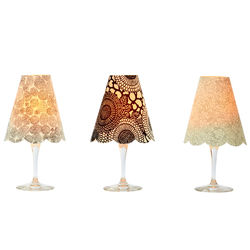 3 lamp shades for wine glasses - Black & white