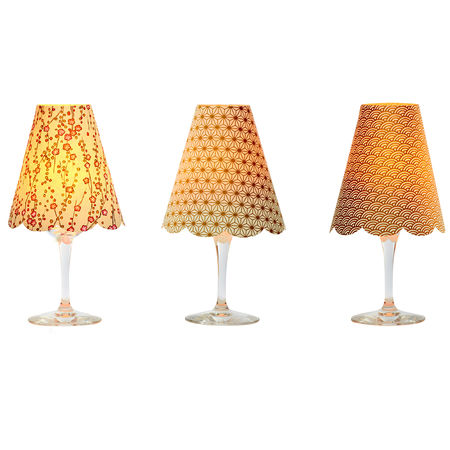 3 lamp shades for wine glasses - Gold and coral