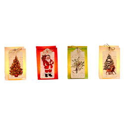 Set of 4 paper lanterns with 4 LED candles – Christmas Tags