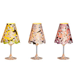 3 lamp shades for wine glasses - Cherry blossom