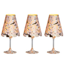 3 lampshades for wine glass - grey cherry blossoms