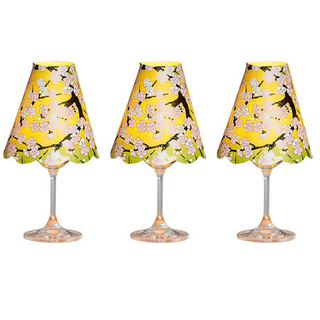3 lampshades for wine glass - green cherry blossoms