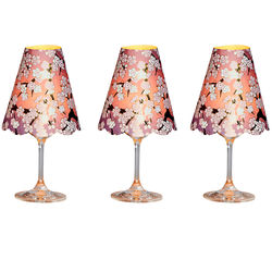 3 lampshades for wine glass - purple cherry blossoms