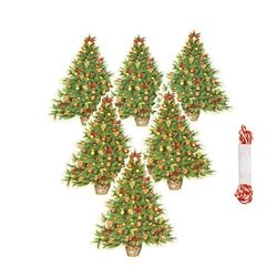 Set of 6 tags Christmas tree and and fruits