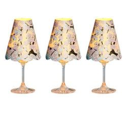 3 lampshades for wine glass - blue cherry blossoms