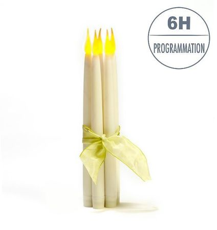 5 LED wax taper candles with timer - H31cm