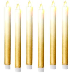 6 Gold taper candles with moving flame
