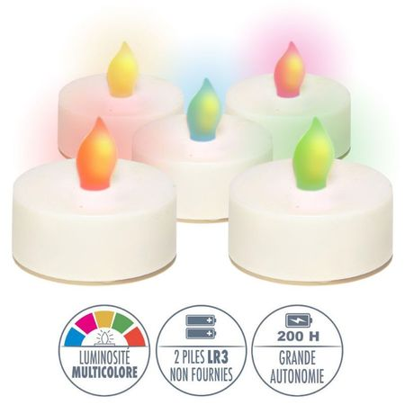 5 LED changing colour tealights
