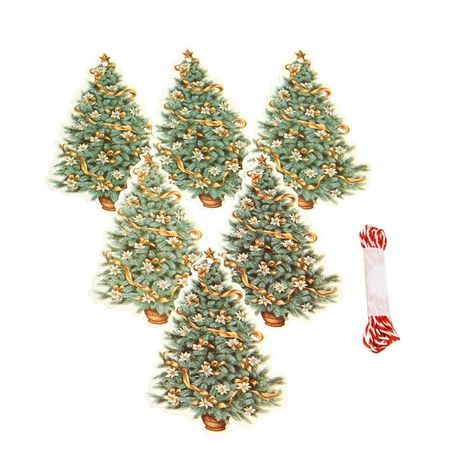 Set of 6 tags Christmas tree and flowers
