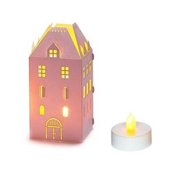 House Holder made in Paper H 15cm - with 1 LED candle