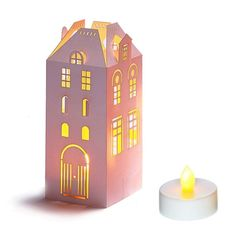 House Candle Holder + LED tealight - H 16.5cm