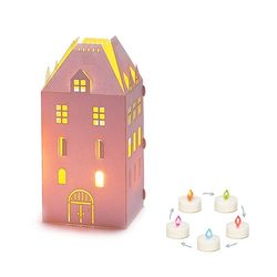 Photophore maison + LED multicolore - H15CM