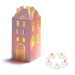 House Holder made in Paper H 16,5cm - with a 5 colors LED candle