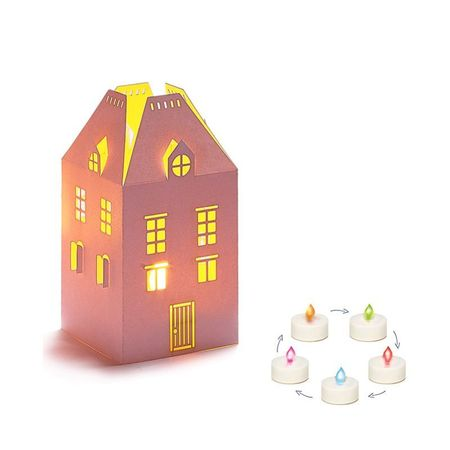 Photophore maison + LED multicolore - H13,5CM