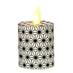 Led candle with moving flame - black diamond - H 5,2 cm