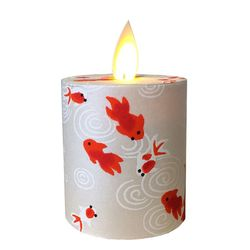 Led candle with moving flame - paper silver fish - H 5,2 cm