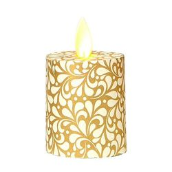 Led candle with moving flame - paper small gold leaves - H 5,2 cm