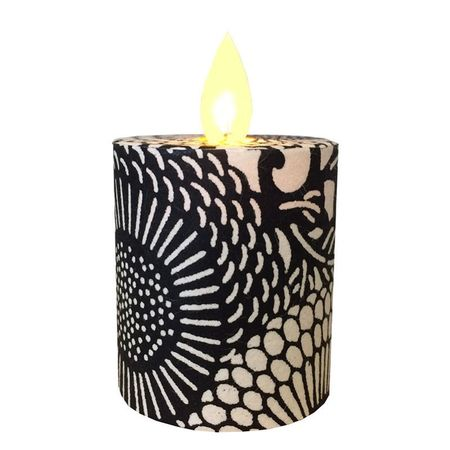 Led candle with moving flame - Large black flowers - H 5,2 cm