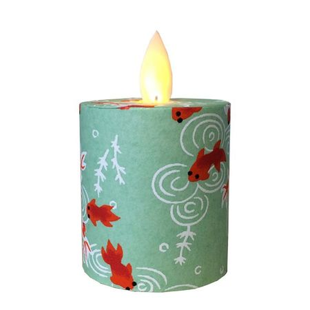 LED candle with moving flame Green goldfish - H5.2CM
