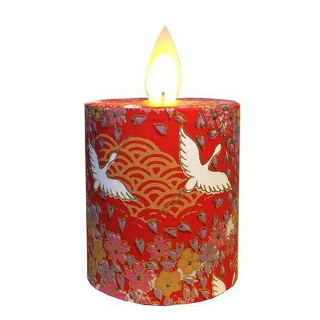LED candle with moving flame Red cranes - H5.2CM