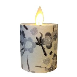 Led candle with moving flame - paper grey cherry blossom - H 5,2 cm