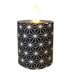 Led candle with moving flame - Black and white Chrystals - H 5,2 cm