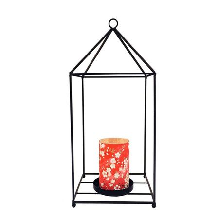 Lantern in metal with a large led candle holder - Cherry Blossom