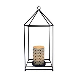 Lantern in metal with a large led candle holder - black cristals